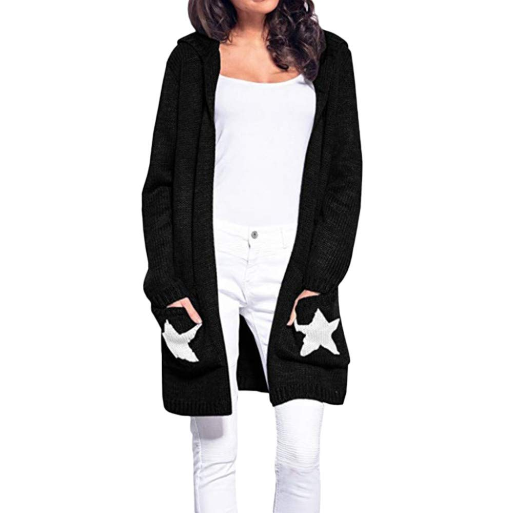 Clearance! Gallity Women's Casual Cardigan Long Sleeve Hooded Star Patchwork Open Front Coat Outwear (L, Black)