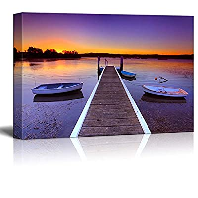 Canvas Prints Wall Art - Beautiful Scenery of Little Boats Moored to a Jetty/Pier at Sunset | Modern Wall Decor/Home Decoration Stretched Gallery Canvas Wrap Giclee Print & Ready to Hang - 24