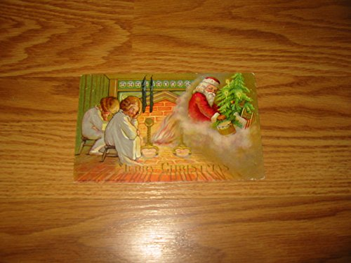 1907 SANTA CLAUS ON-FIRE POSTCARD ----WITH CHILDREN SLEEPING BY FIRE ---BY H.I. ROBBINS, BOSTON---GREAT EYE-APPEAL---- VERN'S CARD & COIN $1 Very Fine