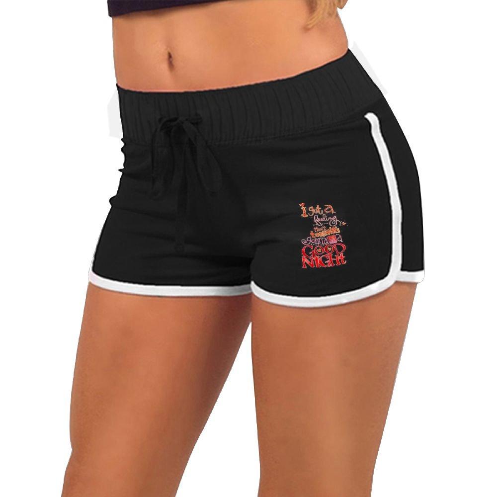 Quliuwuda Womens Watercolor English Word Decoration Black Slim Summer Adjustable Low Waist Hot Shorts