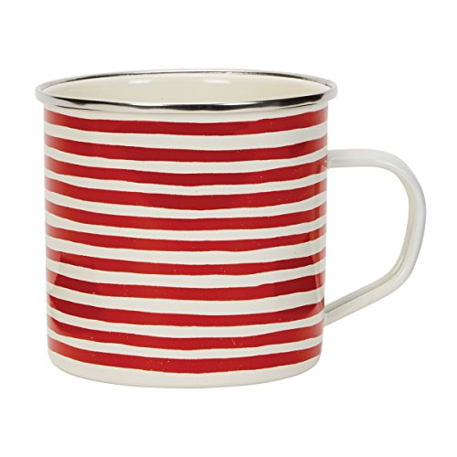 Holiday Enamel - C.R. Gibson Holiday Stripes Stainless Steel Coffee Mug, 16 oz.