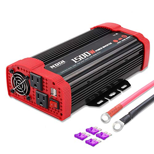 1500W Car Power Inverter 12V DC to 110V AC Car Converter Charger Adapter with Dual 3.1A USB Port and AC Outlets Quick Charging Inverter for RV Camping Emergency Hurricane Storm Outage