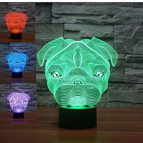 New Animal 3D Cute Lovely Pug Shapei Dog Night Light Touch Switch Decor Table Desk Optical Illusion Lamps 7 Color Changing Lights LED Table Lamp Xmas Home Love Brithday Children Kids Decor Toy Gift by MOLLY HIESON