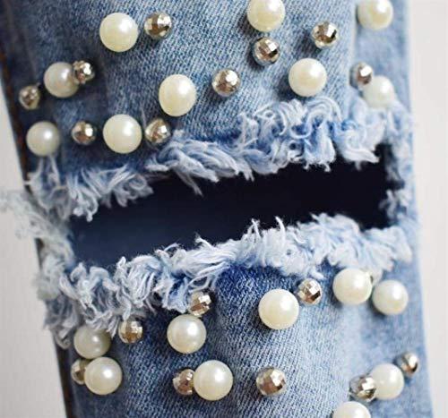 Mezclilla Estiramiento Para Agujero Vaqueros Alta Sankidv Cintura Casuales Flaco Blau Mujeres Rasgado De Del Pantalones Mujer Lápiz 6SA0wxq5