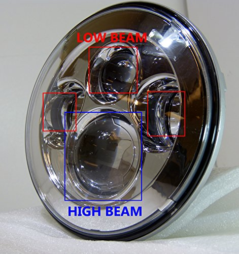 Genssi Led Headlight Fits Harley Motorcycles Single 7 Inch
