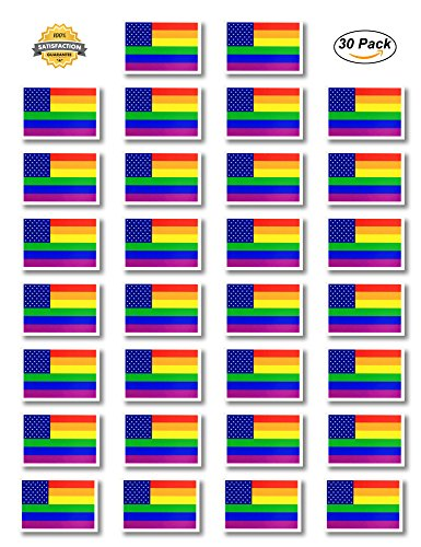 Fiomia Pride Tattoos Temporary Rainbow American Flag Stickers for Pride Parades Festival Waterproof Body Paints Removable 1.8''x1.2'' 30Pcs