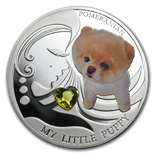 2013 CH Fiji Silver Dogs & Cats Series My Little Puppy Pomeranian Silver Brilliant (Pomeranian Coin)