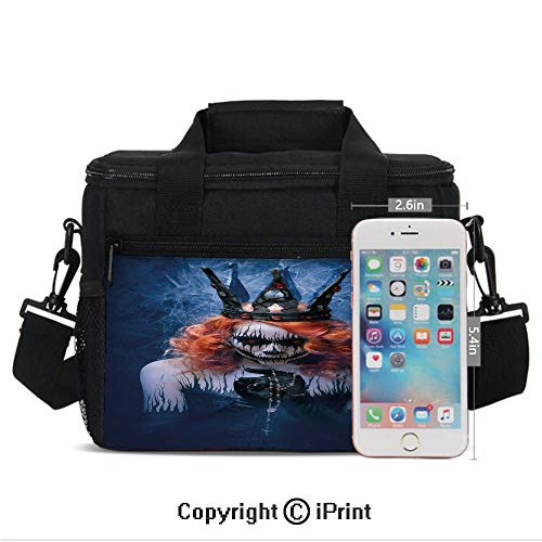 Queen of Death Scary Body Art Halloween Evil Face Bizarre Make Up Zombie Print Lunch Bag Portable Insulated Lunch Boxes with Zipper and Pocket,Navy Blue Orange Black