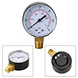 0/15 PSI 0/1 Bar Pressure Gauge Fuel Air Compressor Meter Hydraulic Manometer Double Scale Pressure Measurer For Air Water Gas