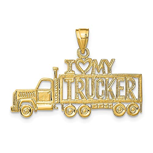 14k Yellow Gold I Love My Trucker Truck Pendant Charm Necklace Talking Travel Transportation Fine Jewelry Gifts For Women For - Charm 14k Truck Gold