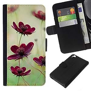 KLONGSHOP // Tirón de la caja Cartera de cuero con ranuras para tarjetas - Campo de flores Naturaleza verde púrpura del trullo - HTC Desire 820 //