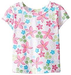 i play. Baby Girls\' Cap Sleeve Rashguard Shirt, White, 18 Months