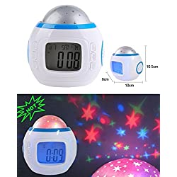 Music Alarm Clock with Sky Star Night Lighting and Calendar Projection Thermometer for Bedroom, Office