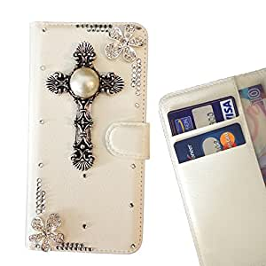 Cross Flowers Crystal Diamond Waller Leather Case Cover 3D Bling For Samsung Note 3 N9000 /- THE- /