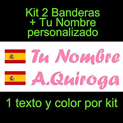 Vinilin Pegatina Vinilo Bandera España con Escudo + tu Nombre - Bici, Casco, Pala De Padel, Monopatin, Coche, Moto, etc. Kit de Dos Vinilos (Rosa): Amazon.es: Coche y moto