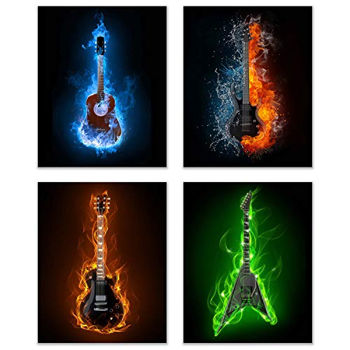 Summit Designs Guitar Music Instrument Wall Art Prints - Set of 3 (8x10) Unframed Poster Photos - Electric Acoustic Flame Modern Abstract