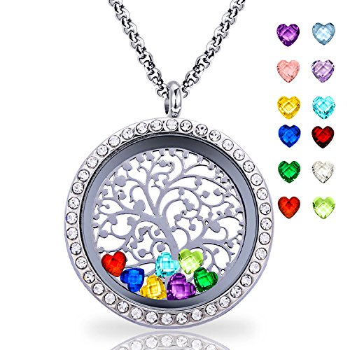Floating Living Memory Locket Pendant Necklace Family Tree of Life Necklace All Birthstone Charms Include (Family tree CZ locket) (Family Birthstone Pendant)