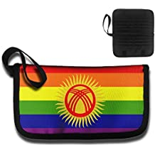 RobotDayUpUP Rainbow Gay Kyrgyzstan Flag Credit Card Case Holder Wallet Print Name Card Case Passport Package Travel Business Work Documents Storage Driver License Bag