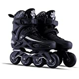 Sunkini Adults Men's Professional Inline Skate Shoes Freestyle Women Skating Boots Outdoor Roller Skates with Protector Gear Black (Size : 35)