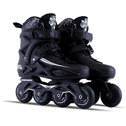 Sunkini Adults Men's Professional Inline Skate Shoes Freestyle Women Skating Boots Outdoor Roller Skates with Protector Gear Black (Size : 39)