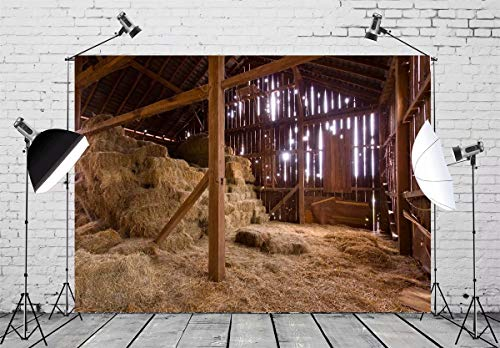 BELECO 10x6.5ft Farm Backdrop Interior of Old Barn with Straw Bales Country Scene Photography Backdrop for Photoshoot Party Nativity Decoration Photo Background Props ()
