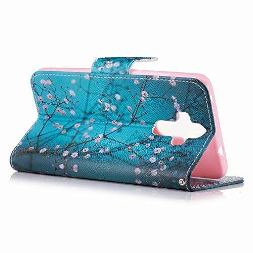 Yiizy Huawei Mate 9 Custodia Cover, Fiore Plum Design Sottile Flip Portafoglio PU Pelle Cuoio Copertura Shell Case Slot Schede Cavalletto Stile Libro Bumper Protettivo Borsa