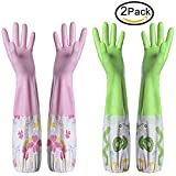 #9: Kitchen Cleaning Gloves,Rubber Latex Cleaning Gloves,Household Cotton Lining Non-slip Dishwashing gloves,Reusable Thickening Waterproof Dish Washing Gloves(2 Pair,Red & Green)
