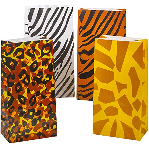 Safari Themed Gifts (Party Favor Bags - (Pack of 24) Animal Print Safari, Zoo or Jungle Theme Goodie Bags in Bulk, Paper Lunch, Candy & Gift Bags by)