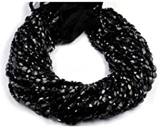 2 Strand Black Spinel Faceted Gemstone Oval Shape Beads 5x7mm 13.5'Long SHRI NATH GEMS & JEWELLERY