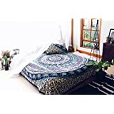 Reversible Cotton Quilt Cover Throw Queen Doona Cover Hippie Blanket Cover Indian Elephant Mandala Duvet Cover
