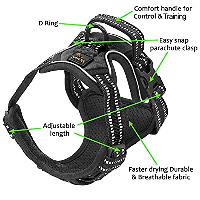 Gentle Leader Dog Vest Harness No Pull No Choke Adjustable - Car Safety, Easy Control, Durable, Hiking, 3M Reflective, Oxford Material, Breathable - Small, Medium, Large & Extra Large Dogs & Puppies