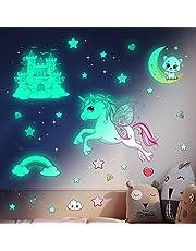 Muursticker kinderkamer lichtgevende sterren zelfklevend met sterrenhemel sticker prinses slot voor babykamer decoratie, eenhoorn muursticker decoratie woonkamer slaapkamer, ideaal voor meisjes geschenken