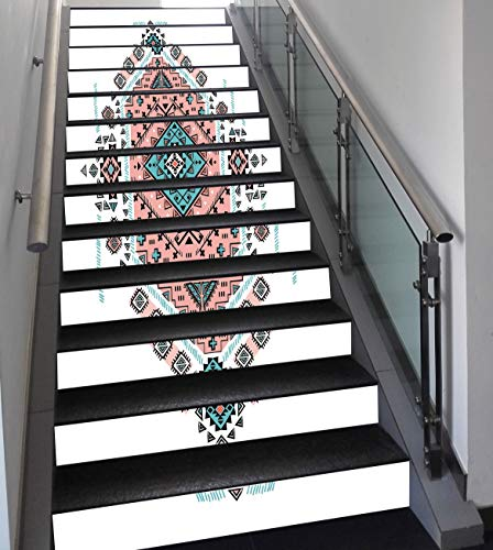 Stair Stickers Wall Stickers,13 PCS Self-adhesive,Tribal Decor,Mexican Native American Ethnic Symmetrical Four Corner Art Pattern,Teal and Coral Pink,Stair Riser Decal for Living Room, Hall, Kids Room
