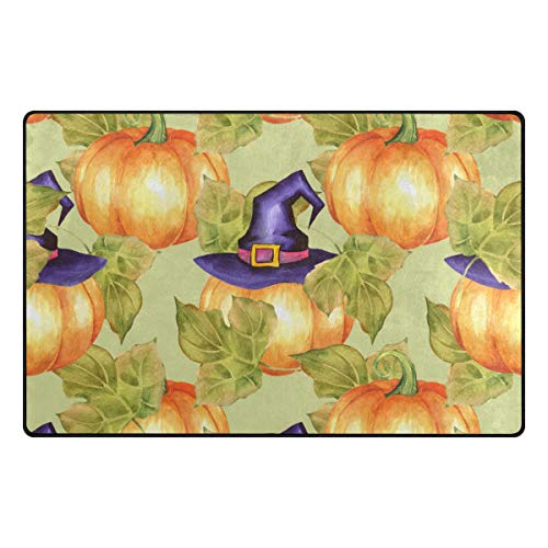 (Vantaso Nursery Area Rugs Soft Foam Pumpkins with Witch Hat 60x39 inch Play Mats for Kids Playing Room Living Room Door Mat)