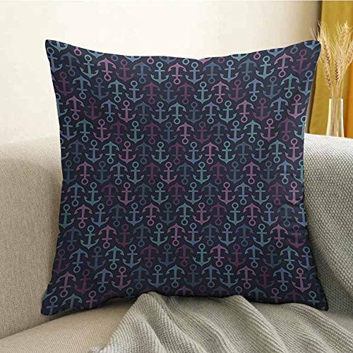 FreeKite Anchor Silky Pillowcase Stylized Icons Up and Down Oceanic Design Elements Cruise Holiday Maritime Theme Super Soft and Luxurious Pillowcase W18 x L18 Inch Multicolor]()