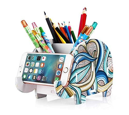 Hard Bone Useful Desk Supplies Organiser, Cute Elephant Pen Pot Pencil Holder with Cell Phone Stand Tablet Desk Bracket Compatible iPhone Smartphone, Multifunctional Office Desk Tidy Stationery Organi