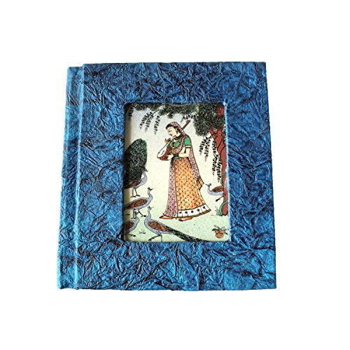 (Splendid Indian Traditional Miniature Gemstone Painting on Glass Handmade Recycled Paper Address Book (Diary))