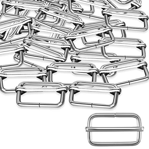 Tatuo 50 Pieces Slide Buckle 1 Inch Metal Tri-Glide Slides Silvery Slide Buckle Rectangle Adjustable Webbing Slider for Fasteners, Strap, Backpack DIY Accessories