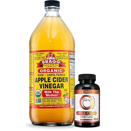 Bragg USDA Certified Organic Apple Cider Vinegar - 32 Ounce - With IGUAZU ACV Pills Combo - With The Mother - Raw - All Natural Weight Loss, Detox, Digestion & Circulation Support - NON-GMO