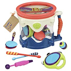 Drumroll, Please! (Seriously, there's no better name for a toy drum set if you ask me) Get the B. beat and take the band on the road with the Drumroll Please from B toys. This portable parade is a children's drum filled with 6 toy musical ins...