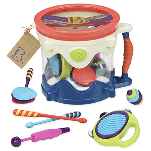 B toys - Drumroll Please - 7 Musical Instruments Toy Drum Kit for Kids 18 months + (7-Pcs)