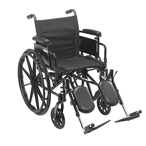 Drive Medical Cruiser X4 Lightweight Dual Axle Wheelchair with Adjustable Detachable Arms, Desk Arms, Elevating Leg Rests, 18
