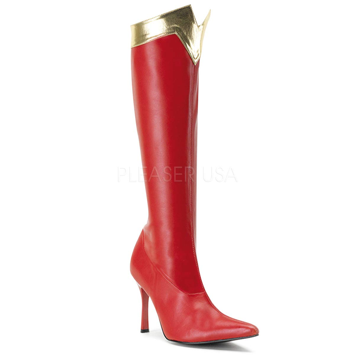 Funtasma by Pleaser Women's Wonder-130 Knee-High Boot,Red/Gold Str. Pu,9 M US by Funtasma