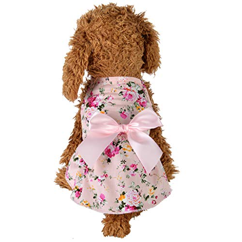 SuperUS Pet Summer Skirt, Dog Princess Unicorn Dresses Girl Bowtie Pet Apparel for Small/Medium Dogs Vest Shirt ()