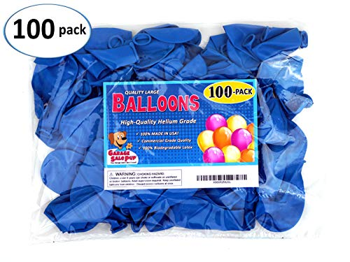 Garage Sale Pup Pack of 100, Bright Blue Color 5 Decorator Latex Balloons, Made in USA!