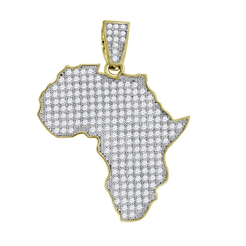 10kt Gold Two-tone CZ Mens Africa Ht:47.2mm x W:36.7mm Map Charm Pendant by Saris and Things