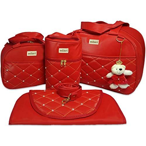 Kit com 4 Bolsas de Maternidade Pérola - Térmico Impermeável - Vermelho