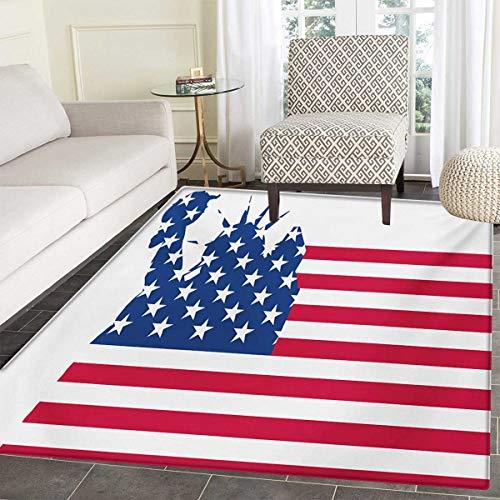 New York Bath Mat Non Slip Statue Liberty Flag Silhouette Un