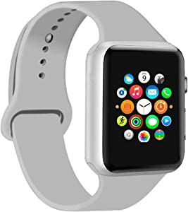 CoJerk Compatible for Apple watch Band 38mm 40mm 42mm 44mm,Replacement Band for iWatch Series 4/3/2/1 (Cloud Gray, 38mm/40mm-sm)