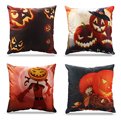 Happy Halloween Decorations Pumpkin Theme Throw Pillow Covers 18 x 18 Inch Sofa Home Decorative Cotton Linen Cushion Covers Set of 4